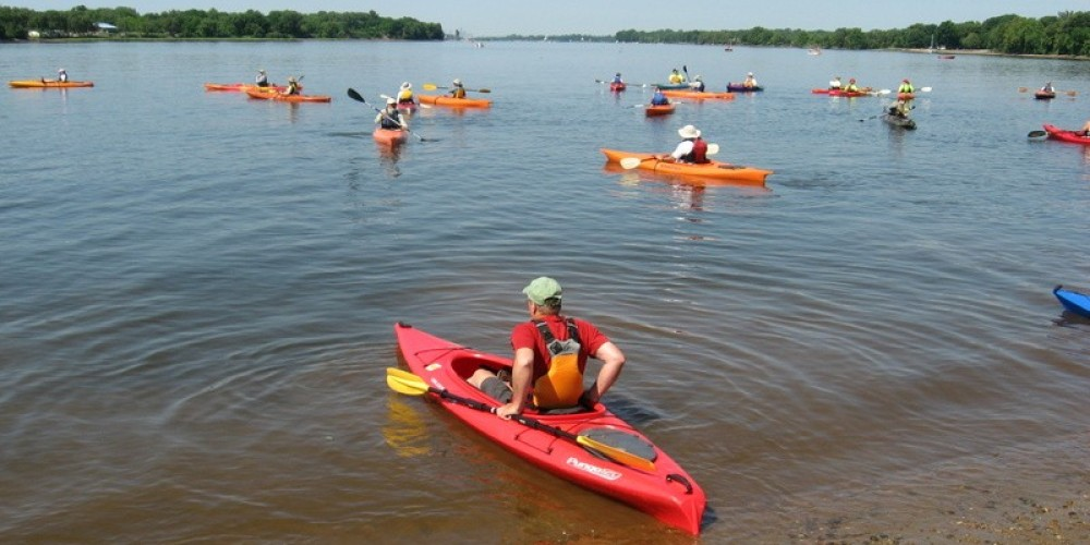 Sojourners head out on the last day of the 2014 Delaware River Sojourn, leaving Neshaminy State Park, in the river's tidewaters near Bensalem, Pa. – Delaware Canal State Park