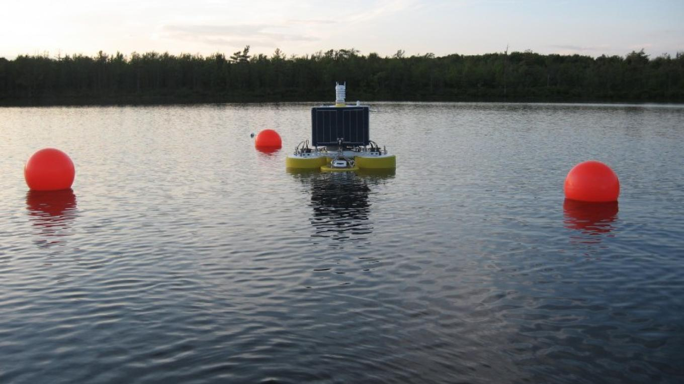 Research buoy on Lake Lacawac