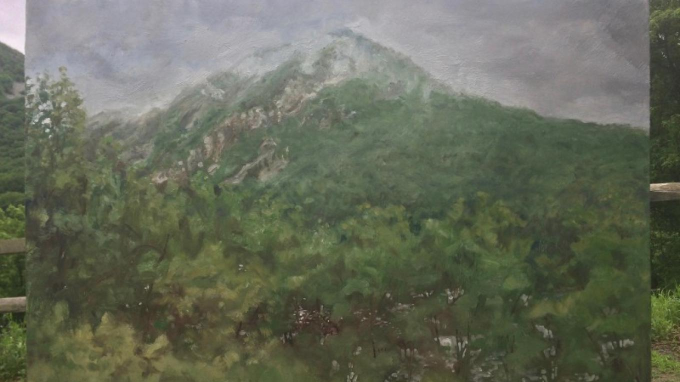 """Mt. Tammany, Fog"" Oil on linen on panel 24""x36"" 2017 – James Gloria"