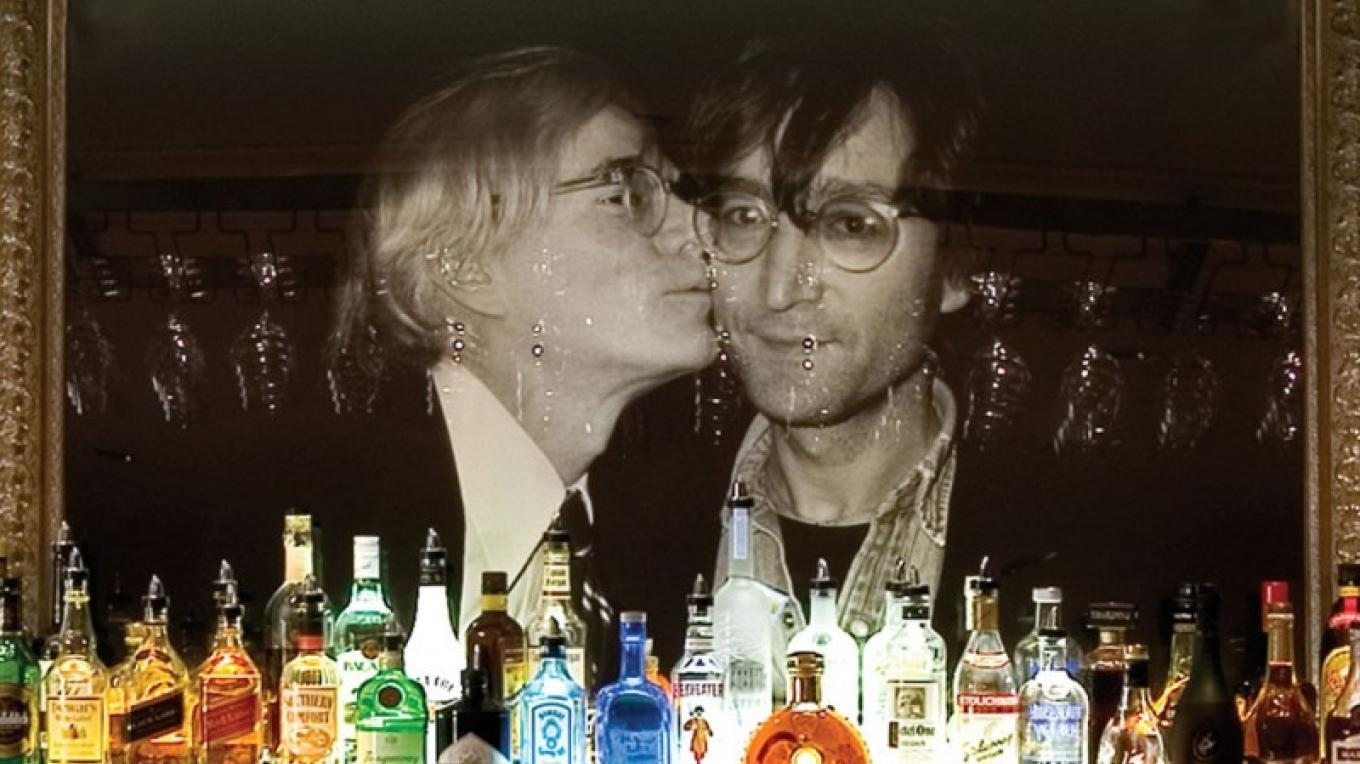 Andy Warhol and John Lennon behind the bar in Bar Louis at the Hotel Fauchere