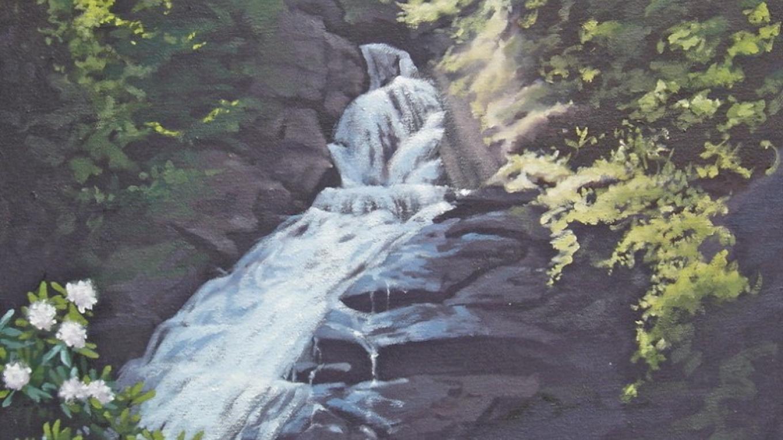 """""""Dingmans Falls, Glowing in Spring"""" oil painting – Marie Liu"""