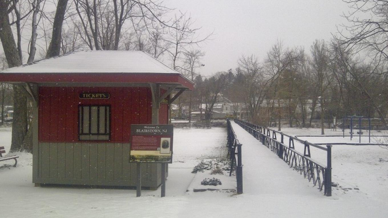 Footbridge park in winter, awaiting a passersby from the nearby Paulinskill Valley Trail – Christine Beegle