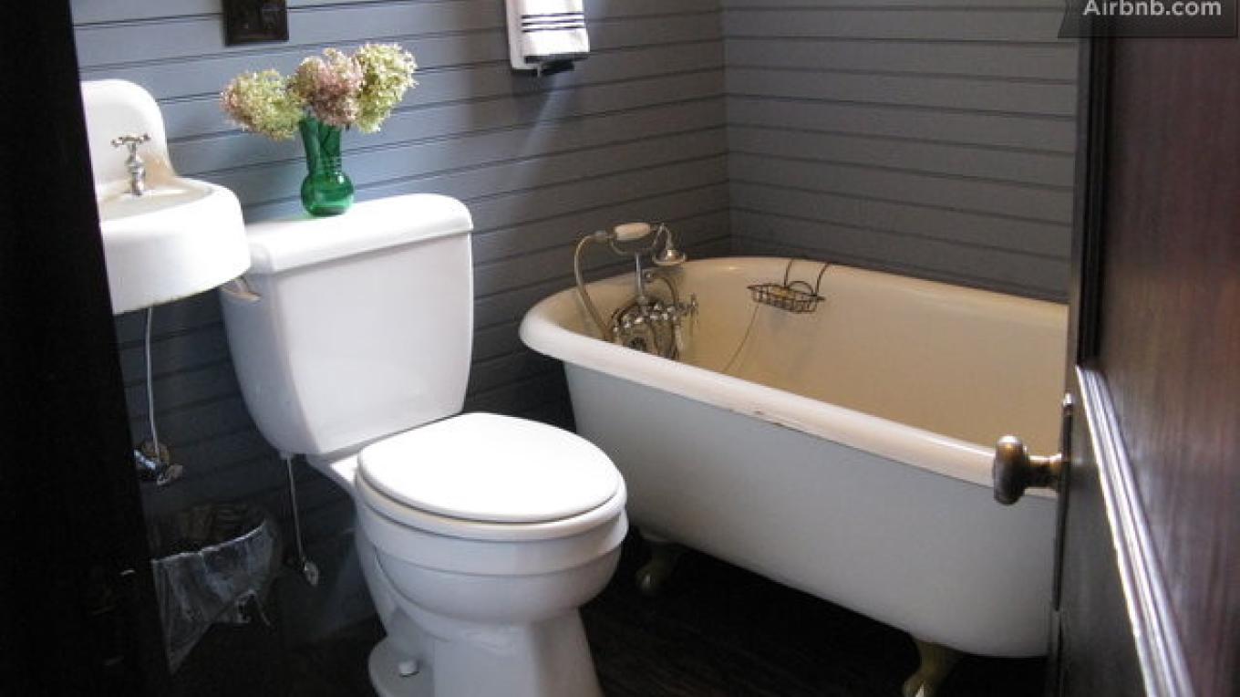 Bathroom with claw foot tub and low-flow toilet – Tina Spangler