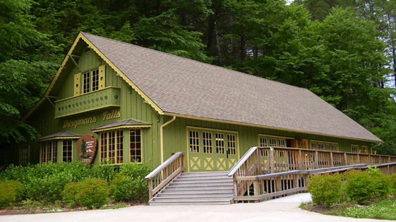 Dingmans Falls Visitor Center is one of two visitor centers open seasonally in the park. The nearby waterfalls are especially popular in the summertime. – National Park Service