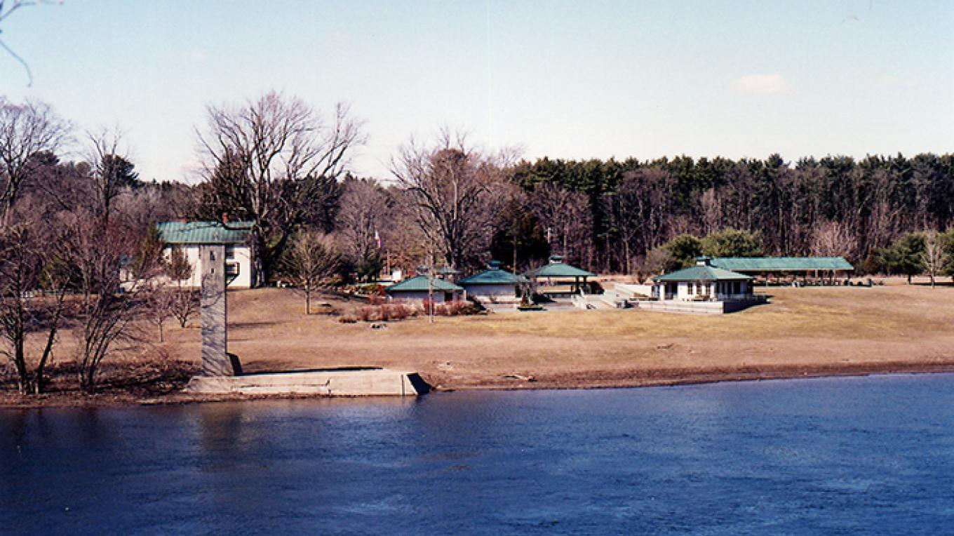 View of Milford Beach and it's picnicking pavilion from Montague, NJ. – National Park Service
