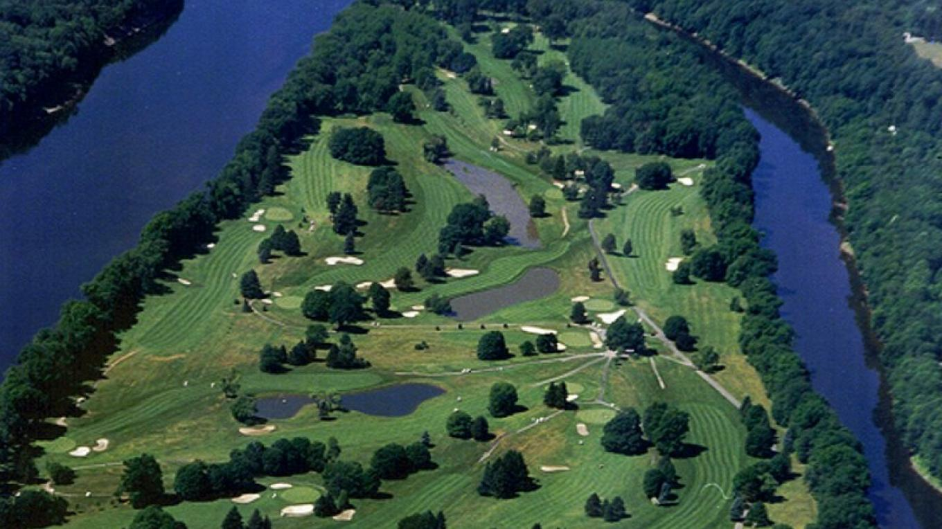 Aerial view of Shawnee's golf course – The Shawnee Inn and Golf Resort