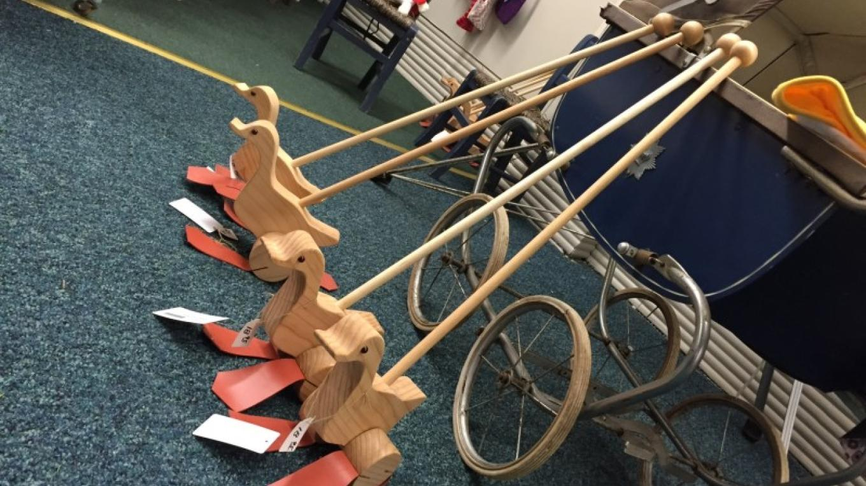 Hand made wooden rolling ducks – Colleen Chudik
