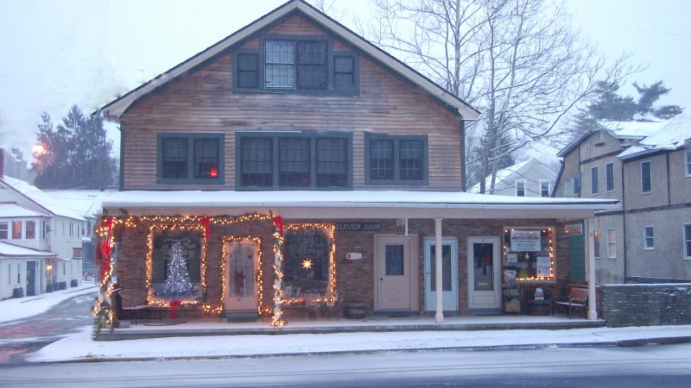 Decorated for the holidays, this building was once the home of Blairstown's grocery store in the mid 1900s – Christine Beegle