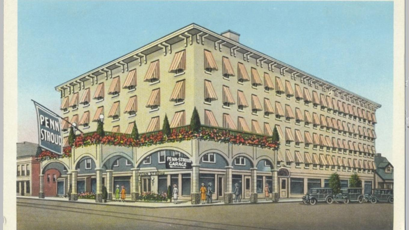 Penn-Stroud hotel in Stroudsburg, PA. At the time it was well known; today it is the Pocono Inne Town Hotel. It was built in the 1800s. Note the airbrushed awnings on each window. This was before air conditioning! – Antique postcards believed to be at least 80 years old.