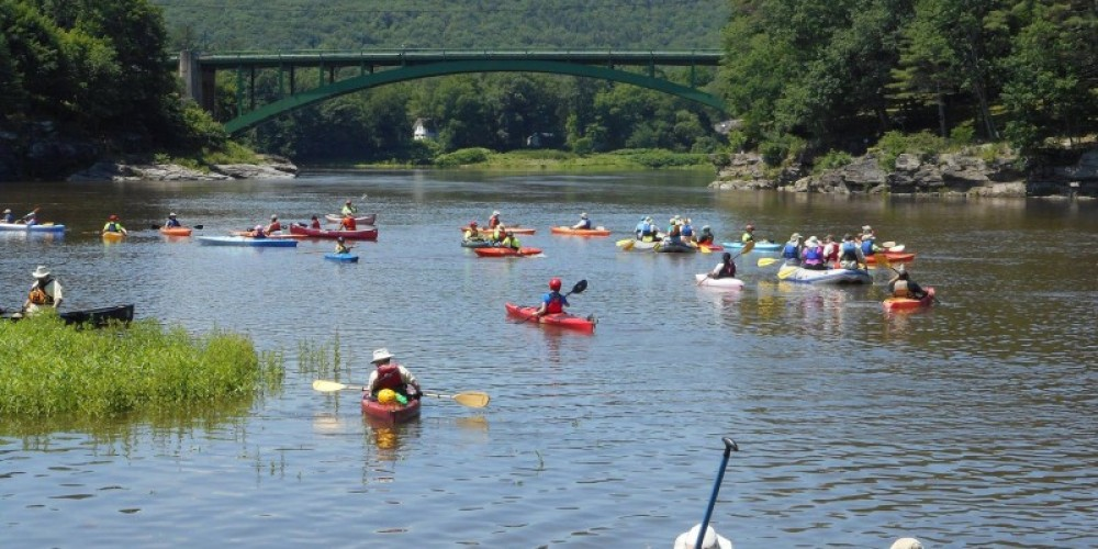 Sojourners approach the Narrowsburg (N.Y.) Bridge on the Delaware River Sojourn. – Troy Bystrom, Upper Delaware Preservation Coalition