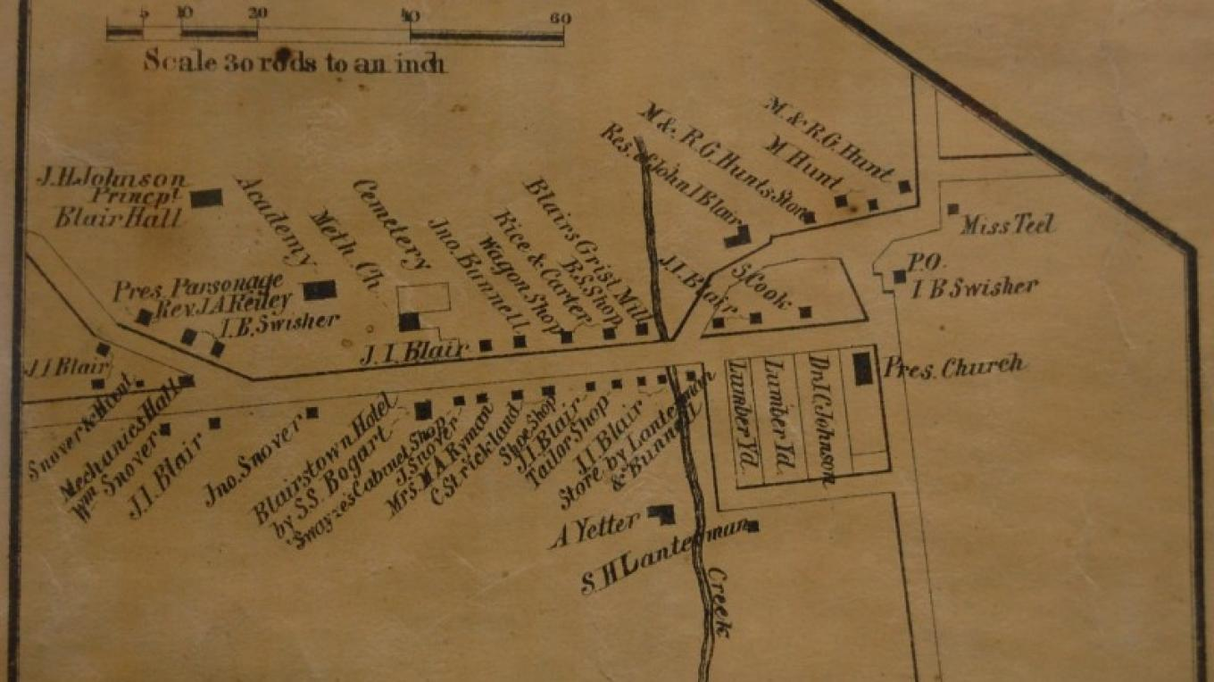 1861 Map of Blairstown – H.F. Walling
