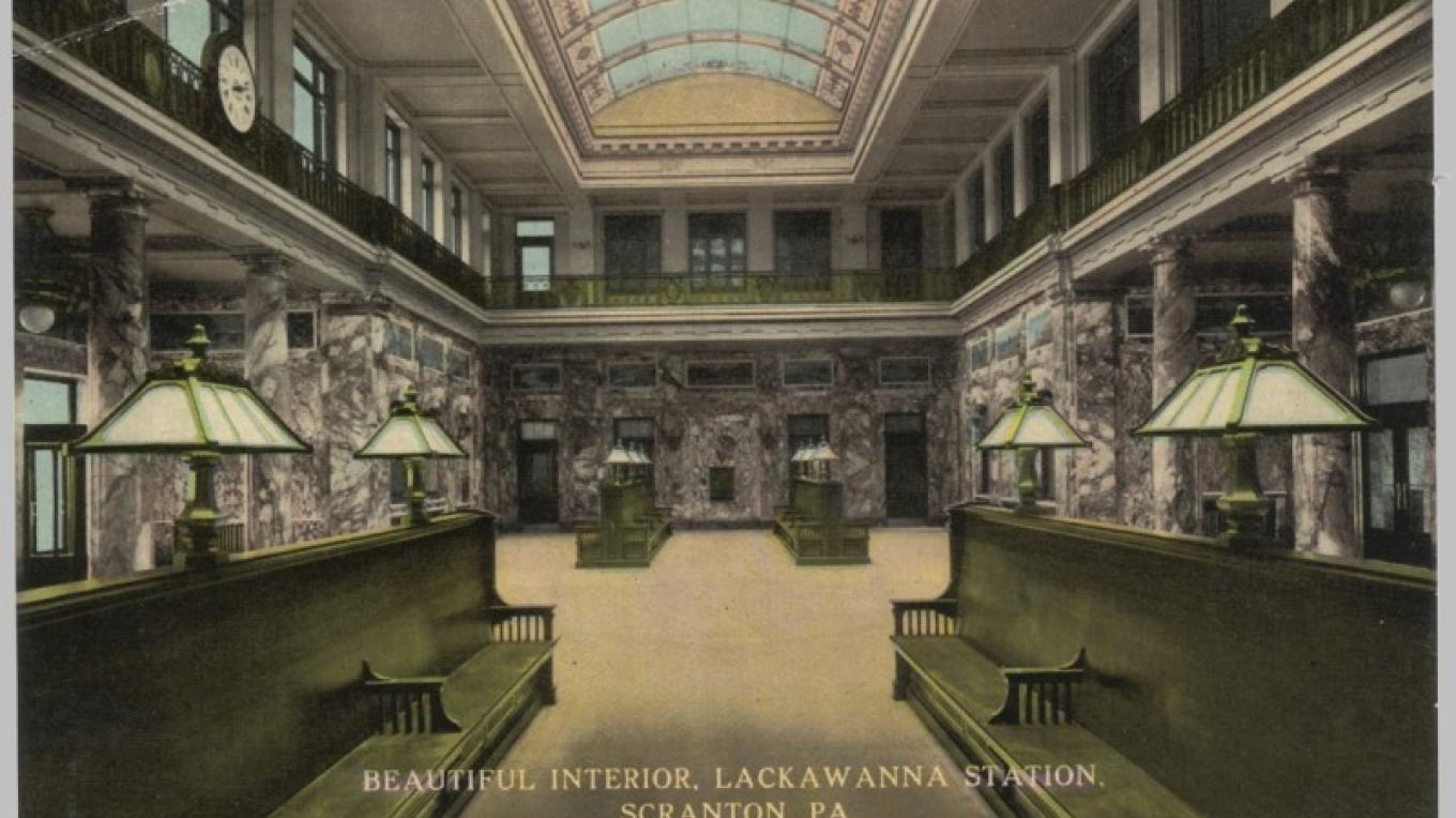 DL&W Station in Scranton, PA. Interior of main waiting room. Built in 1908, the station is now a Radisson hotel, and this area is a lobby that is redressed as a private banquet space as needed. – Antique postcards believed to be at least 80 years old.