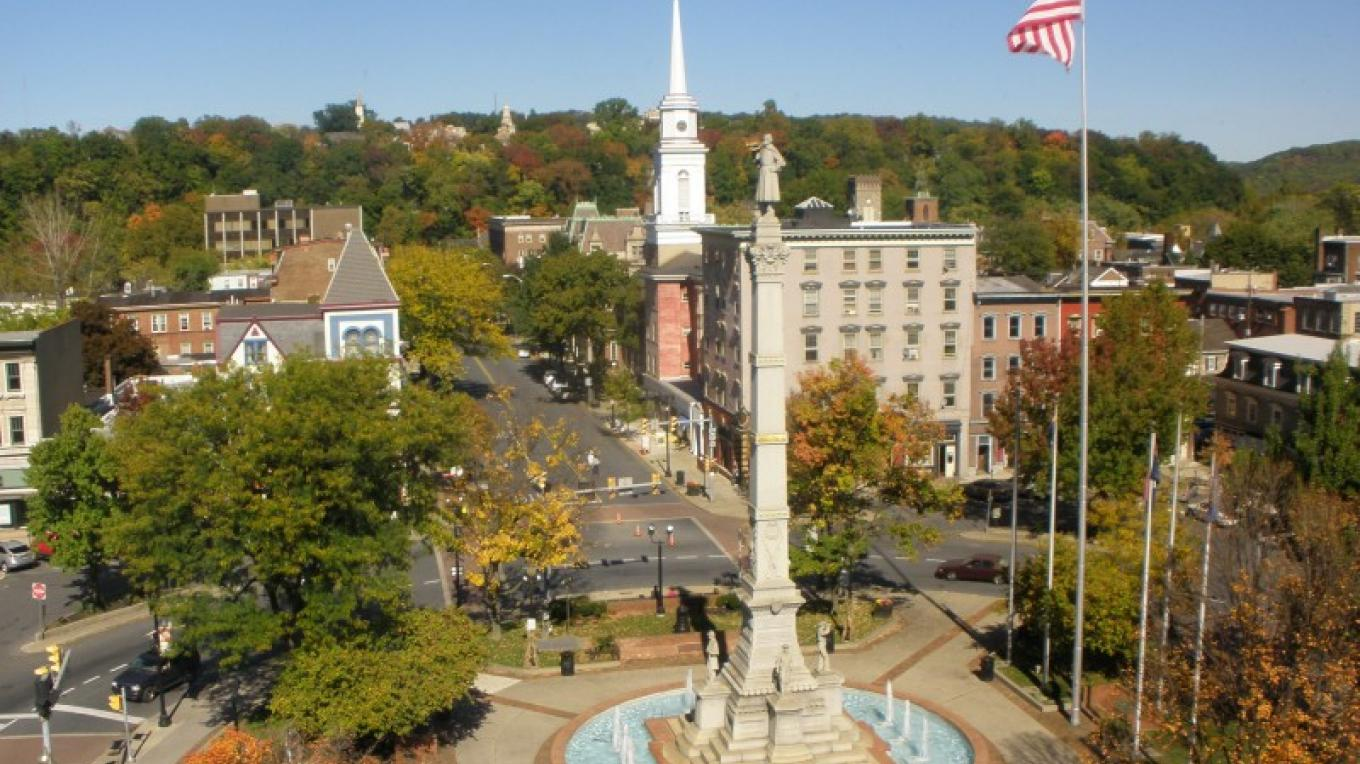 A view of Easton's historic Centre Square.  The steeple in the back is that of the First United Church of Christ which serves as a Revolutionary War hospital. – Mayor Sal Panto, Jr.