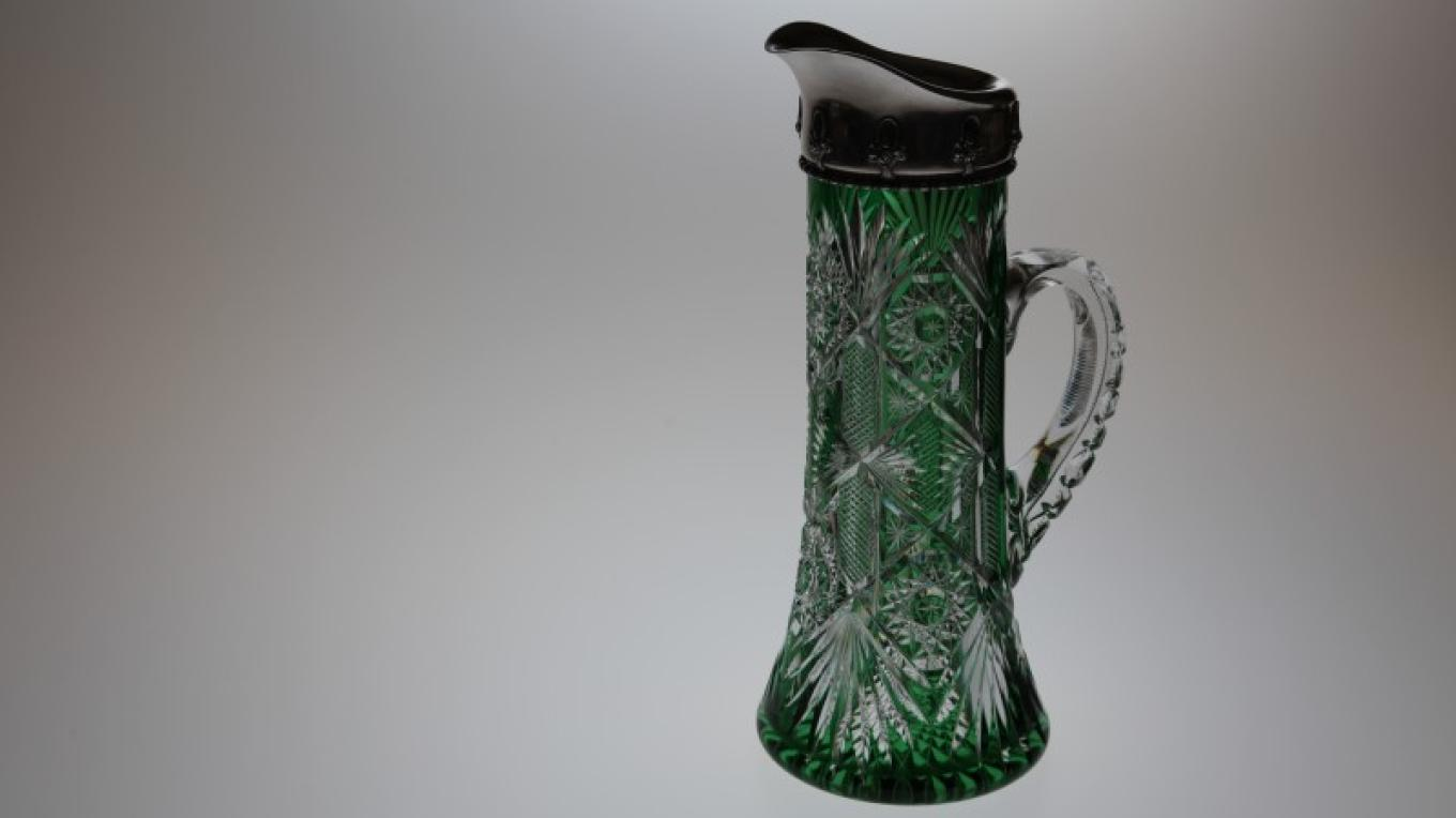 A green over colorless glass Flemish jug with handle and sterling silver rim, cut in the Number 50 pattern by C. Dorflinger & Sons. – Henry J. Loftus