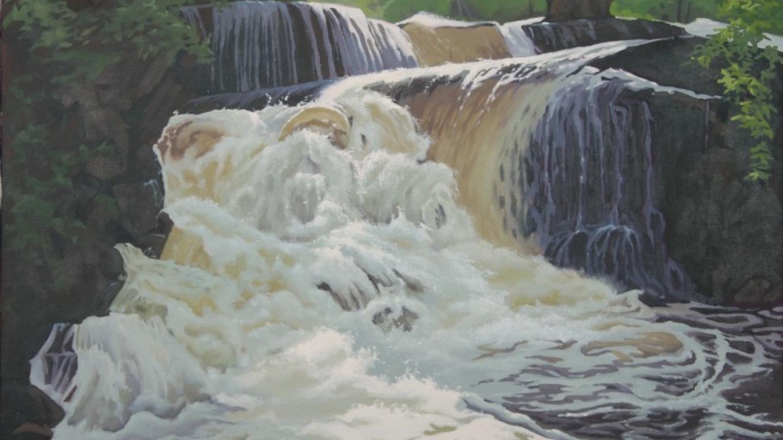 """Shohola Falls"" oil painting – Marie Liu"