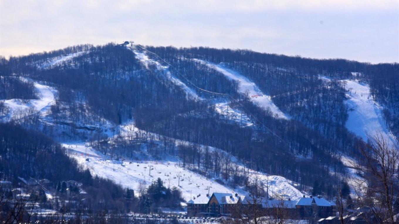Mountain Creek Resort (Vernon Peak) from the valley. – Mountain Creek