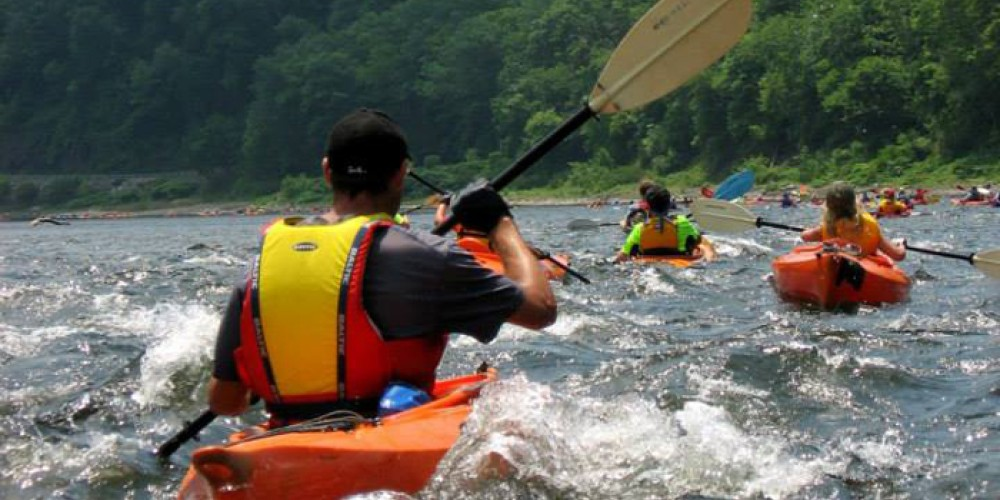 Sojourners paddle through some river rapids as they head towards Belvidere, N.J. – Delaware Canal State Park.