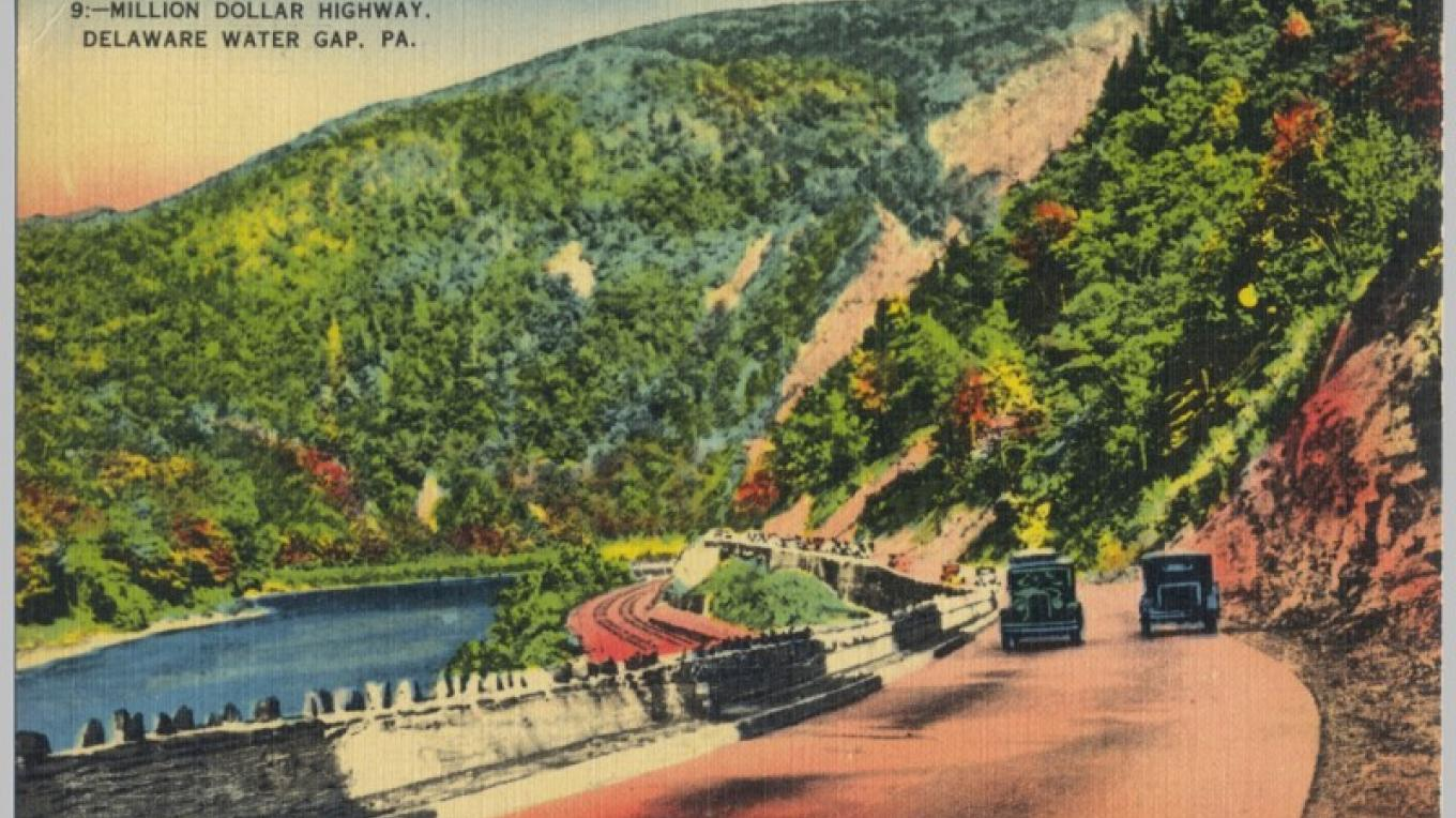 Delaware Water Gap - Looking South along what is now Route 611. The stone wall guardrail is still in existence along portions of the road. The mainline of the DL&W railroad is on a lower level. – Antique postcards believed to be at least 80 years old.
