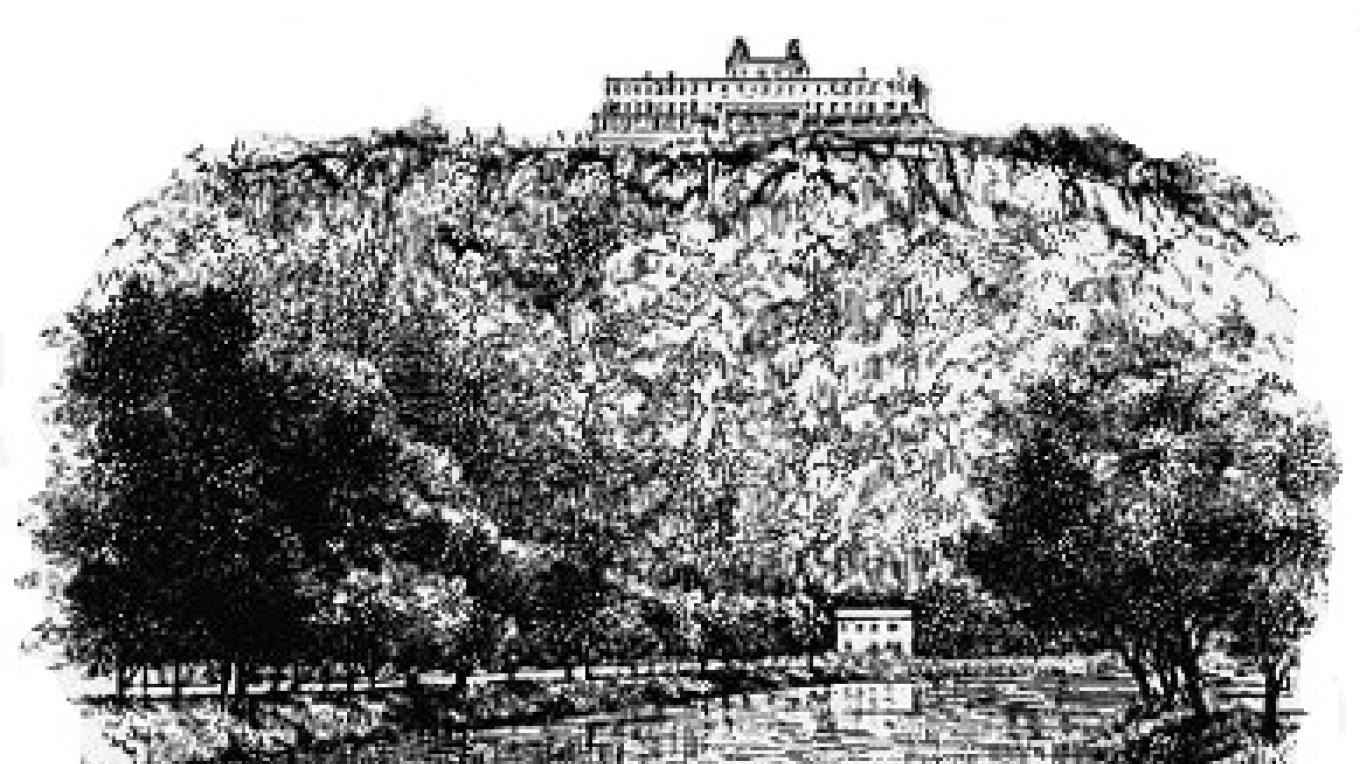 Historic drawing of Irving Cliff and former hotel. – http://www.waynehistorypa.org/hplaces/images/large/n6-2004.jpg