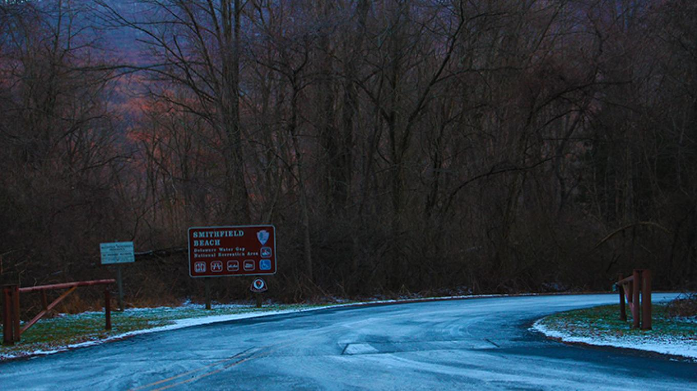 Sign for Smithfield Beach as seen from River Road in Pennsylvania. – National Park Service