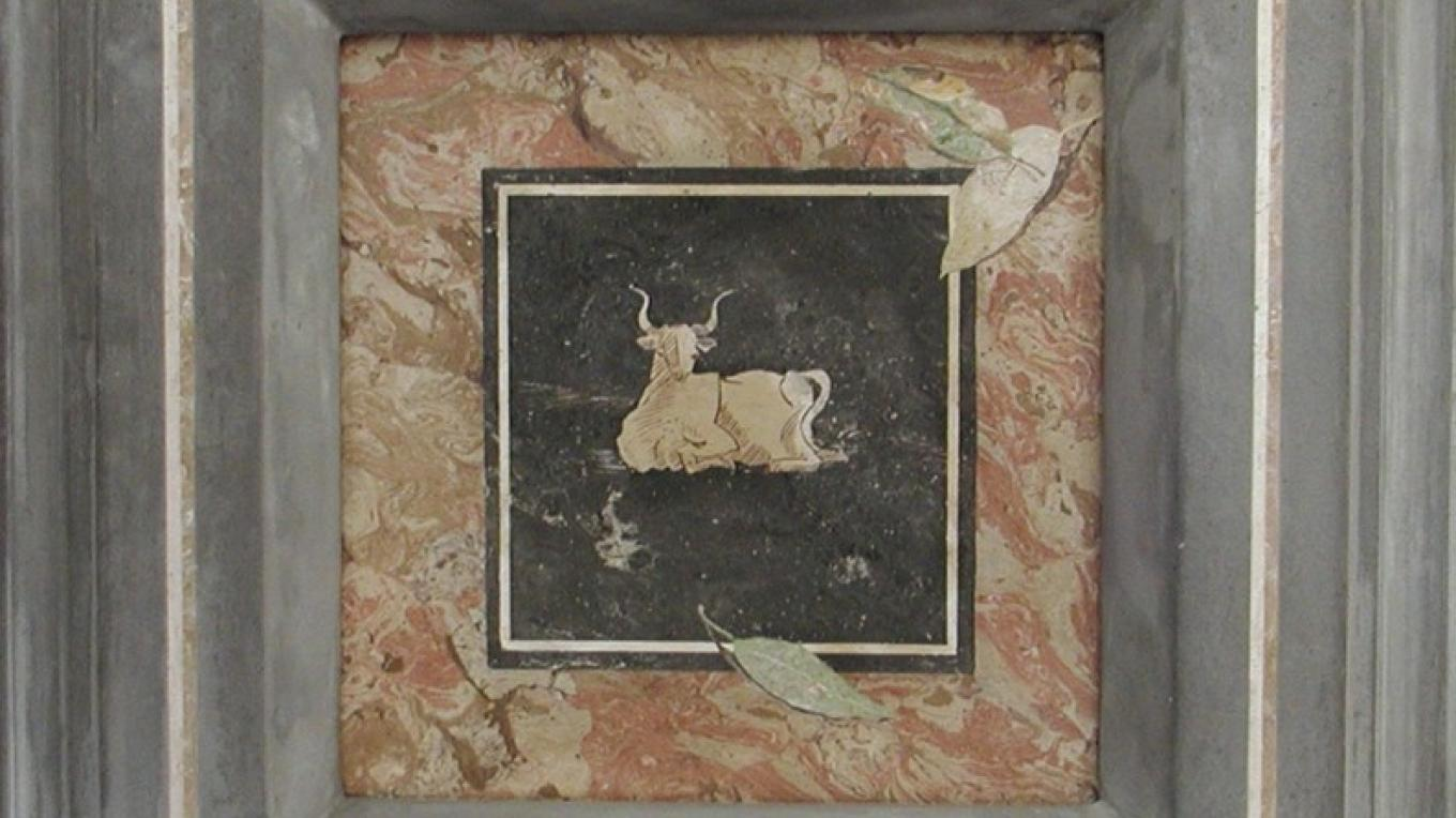 Scagliola Inlay panel and frame 12 x 12 – james Gloria