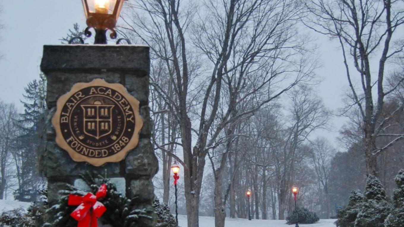 The main entrance to Blair Academy during a winter snowfall – Christine Beegle