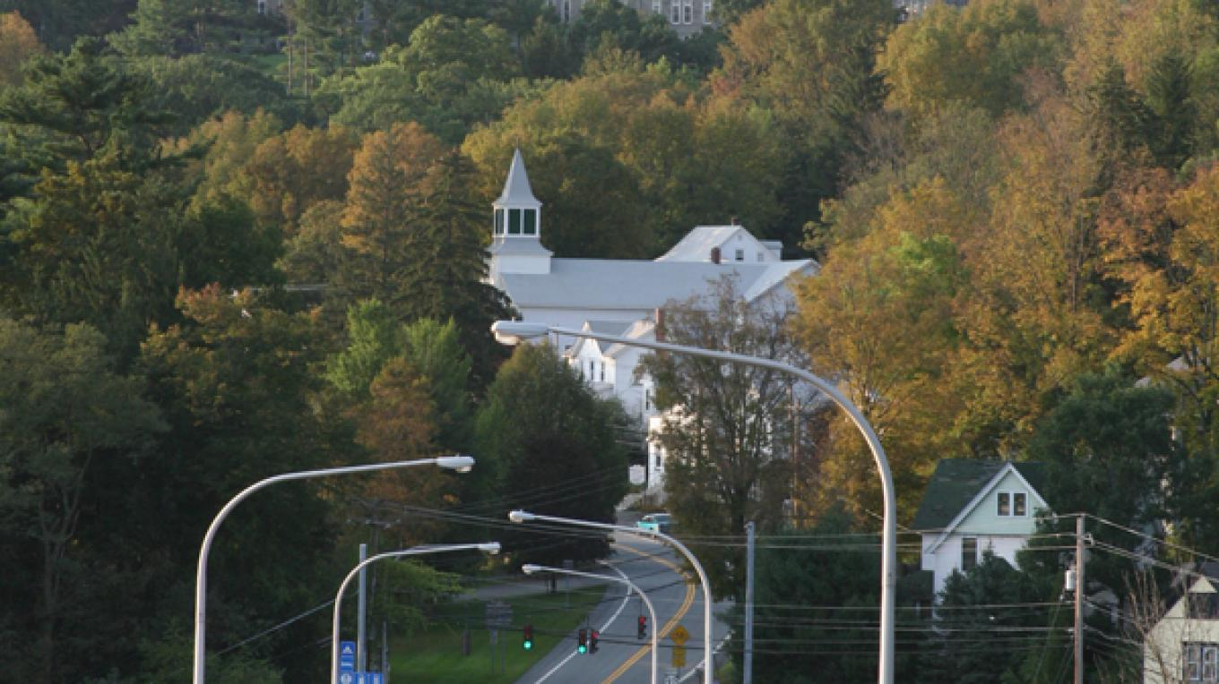 Heading into Callicoon on the Route 97 viaduct, with a view of the former St. Joseph's Seraphic Seminary that is now the Delaware Valley Job Corps Center. – Dorene Warner