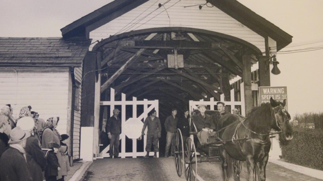 Entrance of the covered bridge – The Slate Belt Museum
