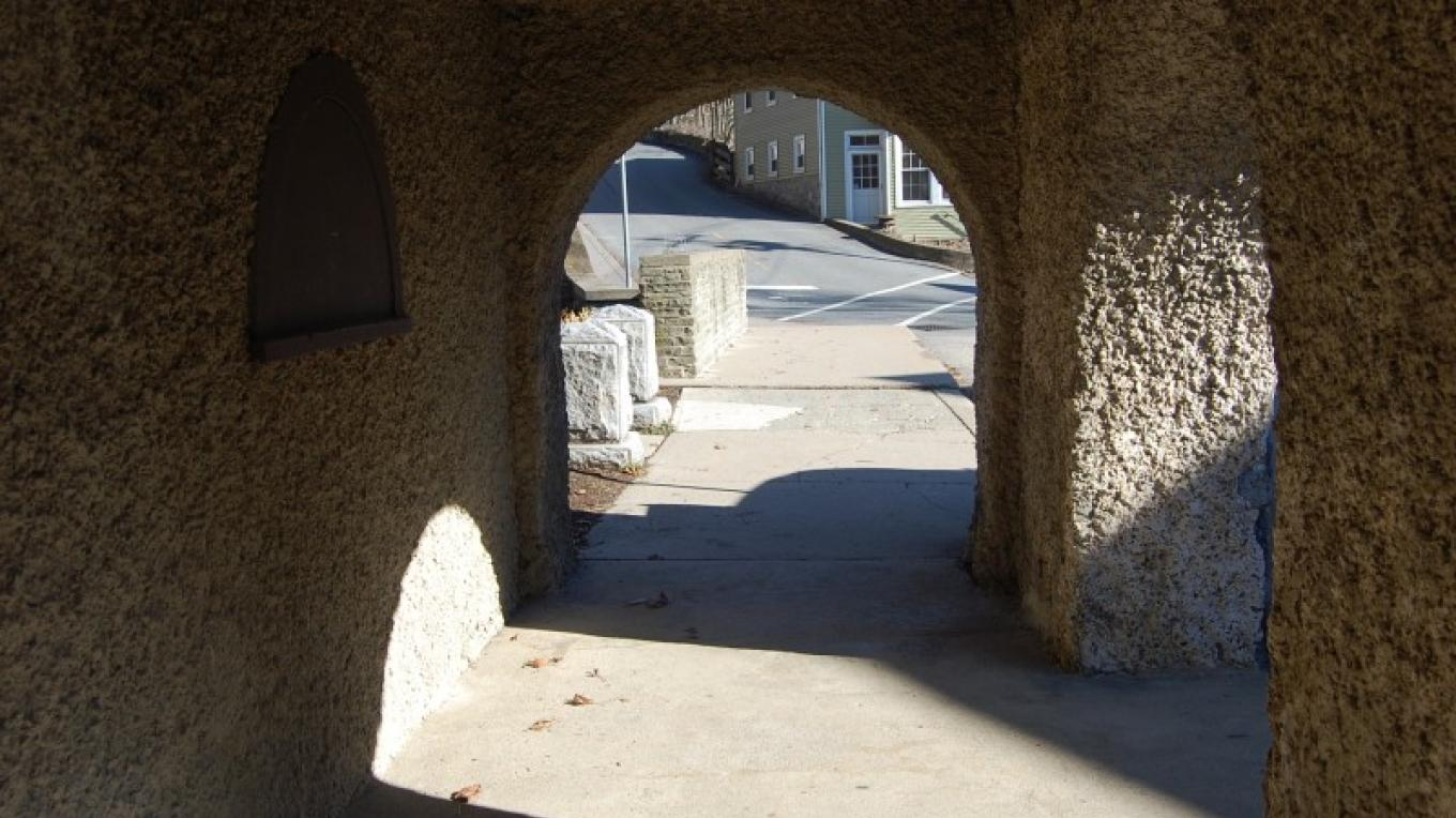 Main Street, Blairstown - Old Mill arches. Annie walks through these arches during an opening scene of the movie. – Christine Beegle