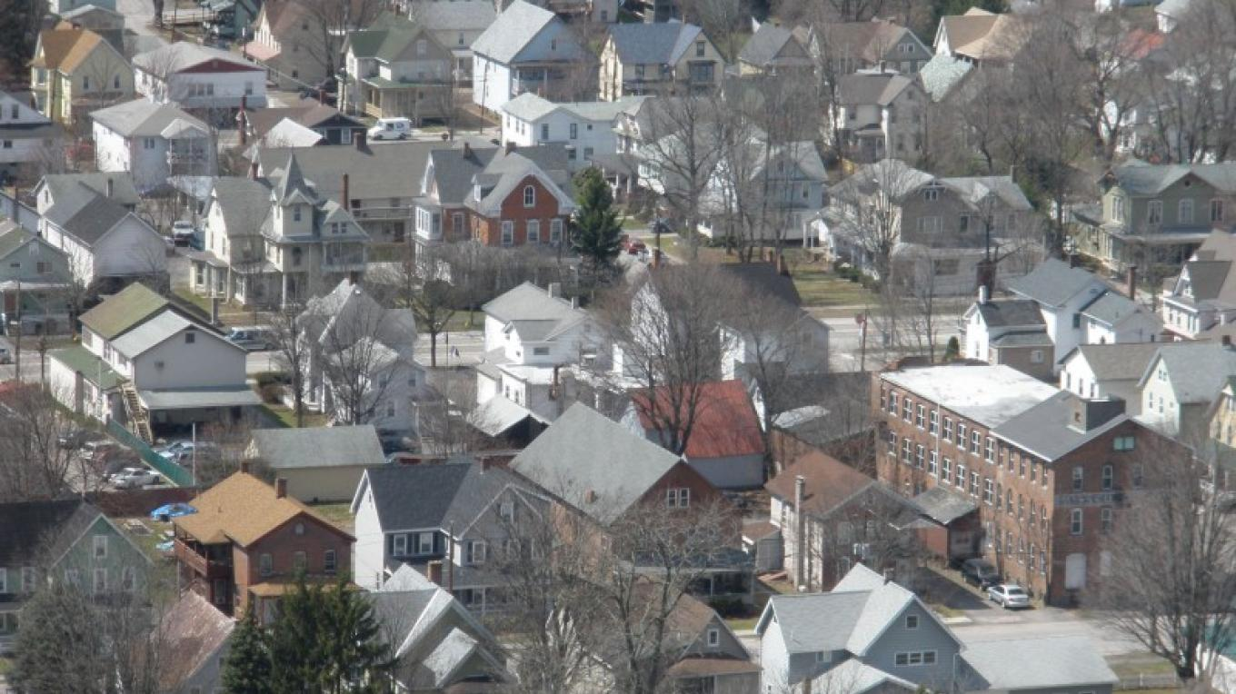 Some of Honesdale's Residential Historic District, as seen from the cliff. – Derek F. Williams