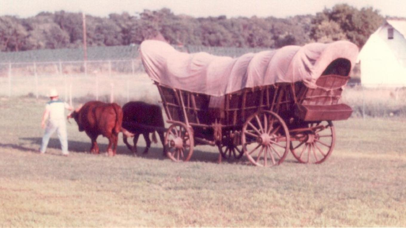 The Wyker family prairie schooner was found in the Wyker family farm barn's rafters and brought to the Space Farms Museum by Ralph Space. – Fred T. Space