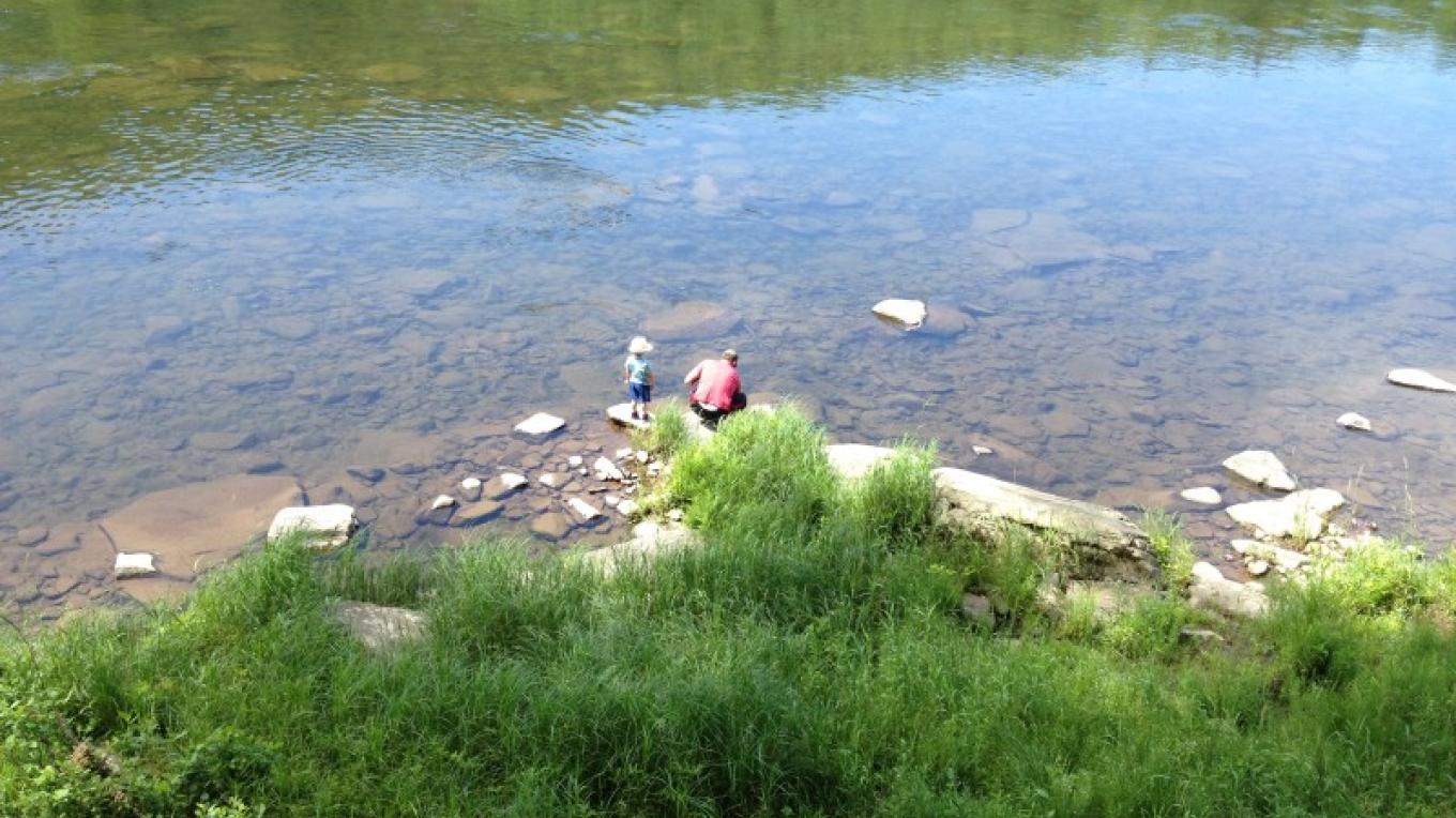 Skipping rocks along the Delaware River, check the water for minnows... – D. Davies