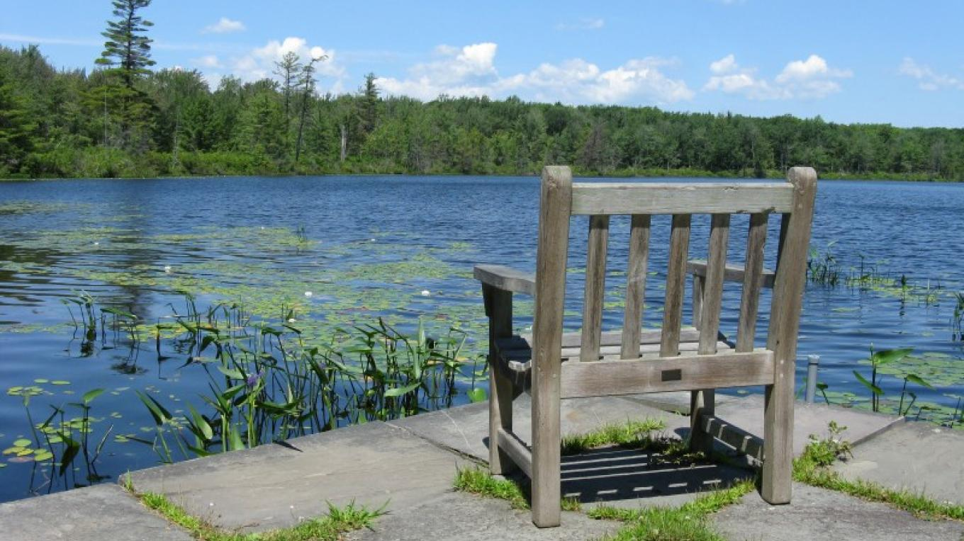The stone dock at Lake Lacawac