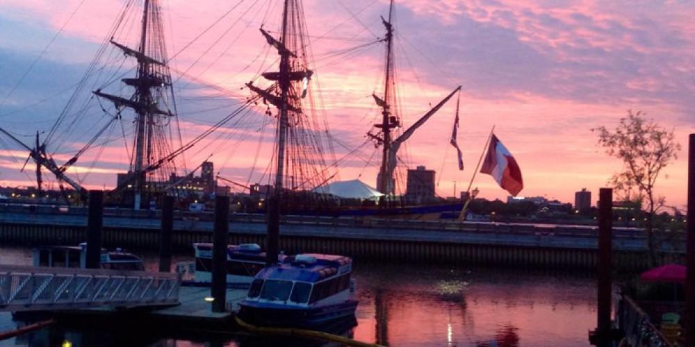 What a sunrise! The Delaware River at the Penn's Landing Marina, Philadelphia, Pa. – Dave Frei, National Canoe Safety Patrol