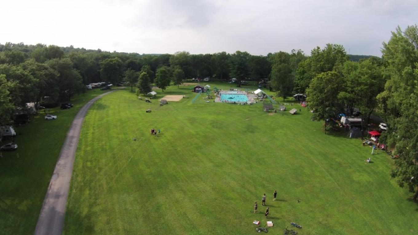 Ariel view of the Softball Field and Pool Area. – Photograph by: Driftstone Campground