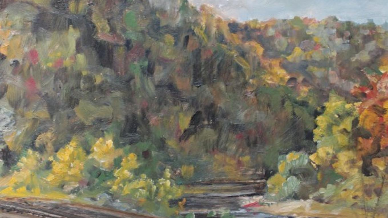 """Water Gap Rails"" Oil on linen on panel, 2017 – James Gloria"