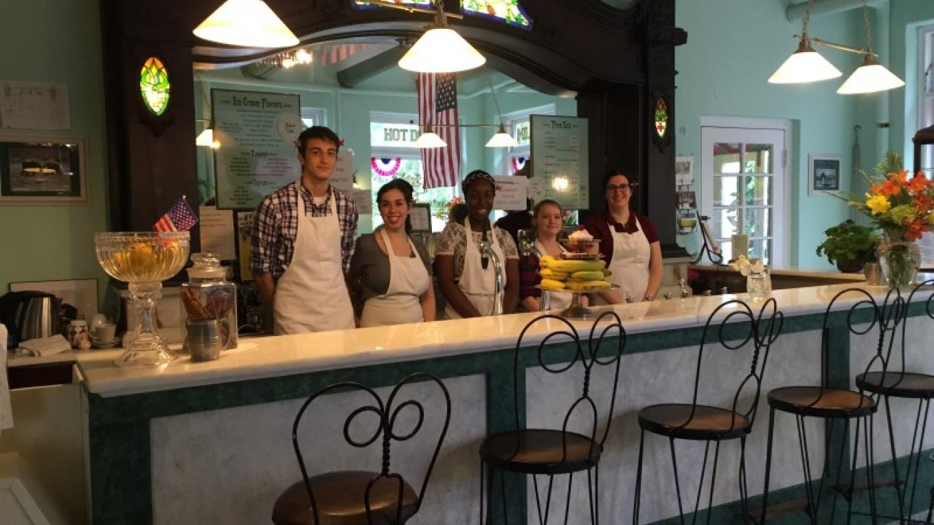 The Zoe's staff ready to serve customers for the Jazz Festival. – Photograph by: Zoe's Ice Cream Emporium