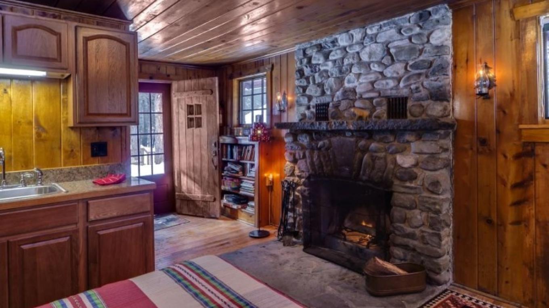 Stone fireplace—Cabin – Oleg March