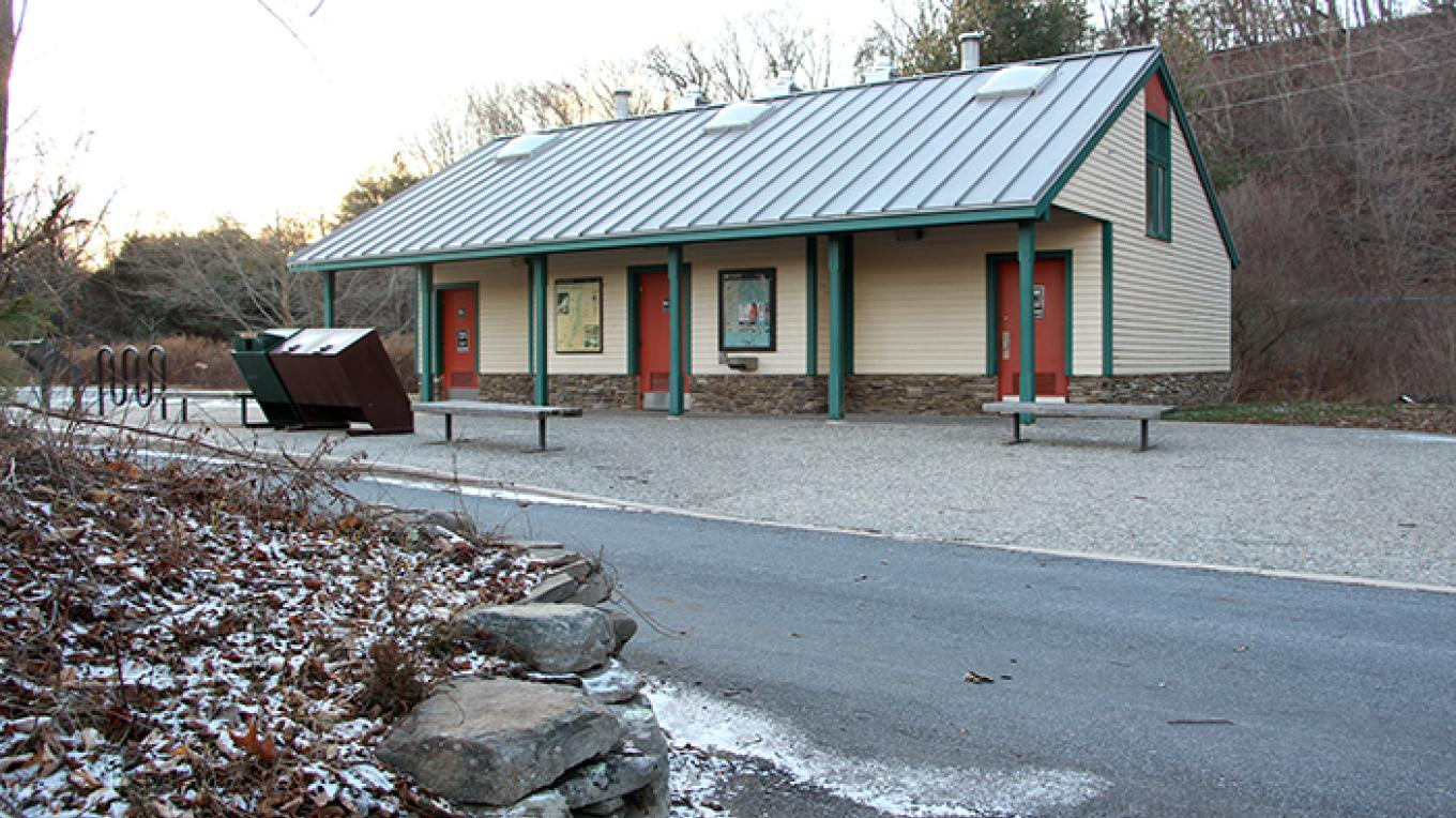 Bushkill Access restrooms are located in the parking area. – National Park Service