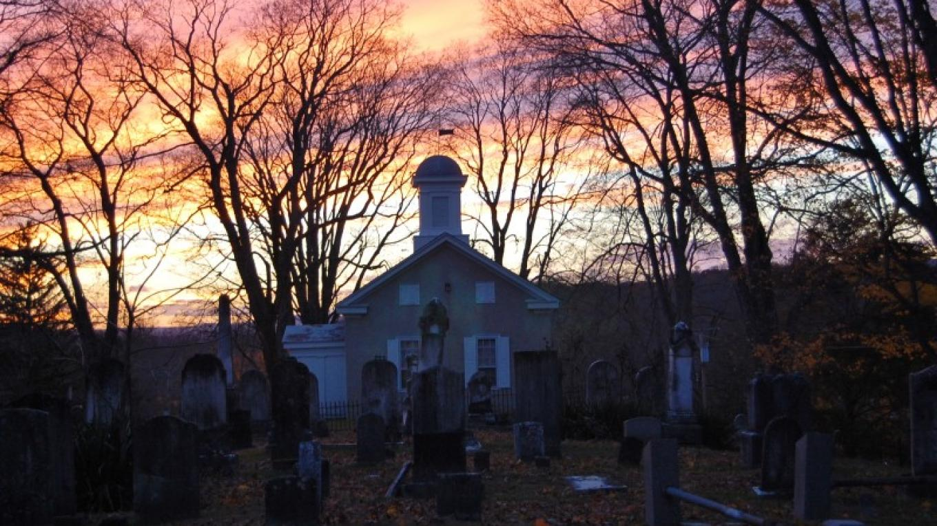 Gravel Hill cemetery under a fall sunset – Christine Beegle