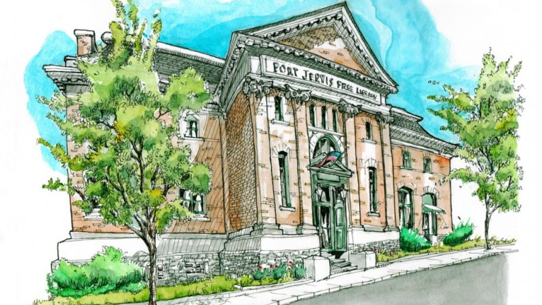 Artist's sketch of the Library – Josiah Hanchett