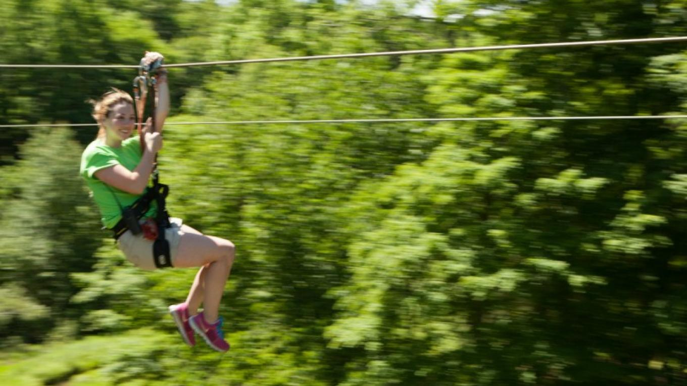 Pocono Zip Racer dual 1,00o ft racing zip lines located on Route 209 in Bushkill, PA next to the Delaware Water Gap National Recreation Area. – David Coulter