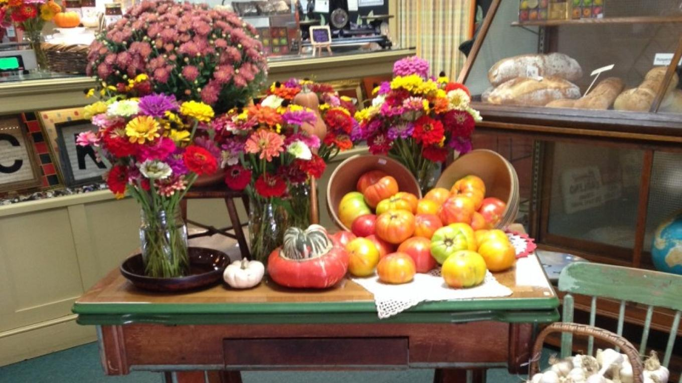 Fresh flowers from a local gardener at Eberhardt's Fresh Pickins along with heirloom – Jeanie Eberhardt