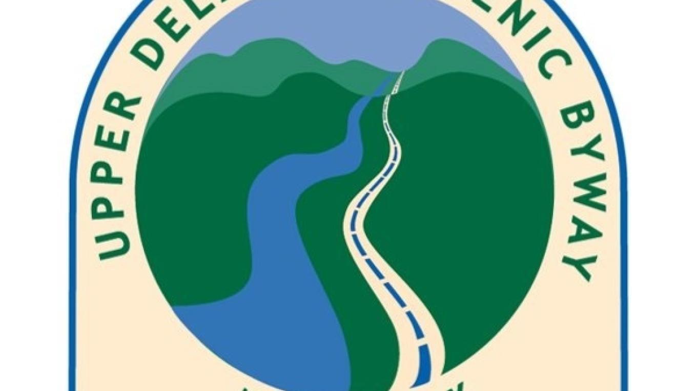 Upper Delaware Scenic Byway logo, which appears on road signs along New York State Route 97