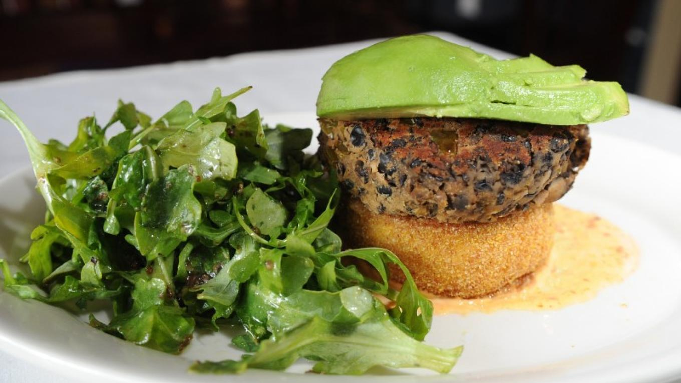 Black Bean Burger with Polenta & Arugula salad (Vegetarian & Gluten Free) – David Kidwell Photography