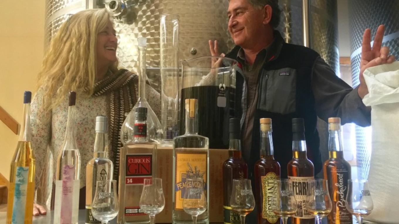 Owners Stacy Cohen and Monte Sachs enjoying the Spirits made on site at the Catskill Distilling Co. – Jerry Cohen