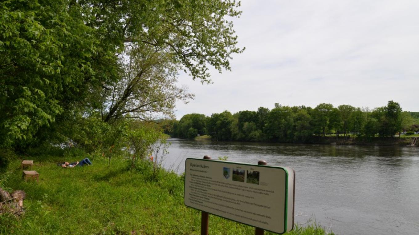 Ramsaysburg Homestead Site - Delaware River Access Trail. Riparian Buffer trail for small river craft access to the Delaware River. Looking downriver - south – Ken Metcalf