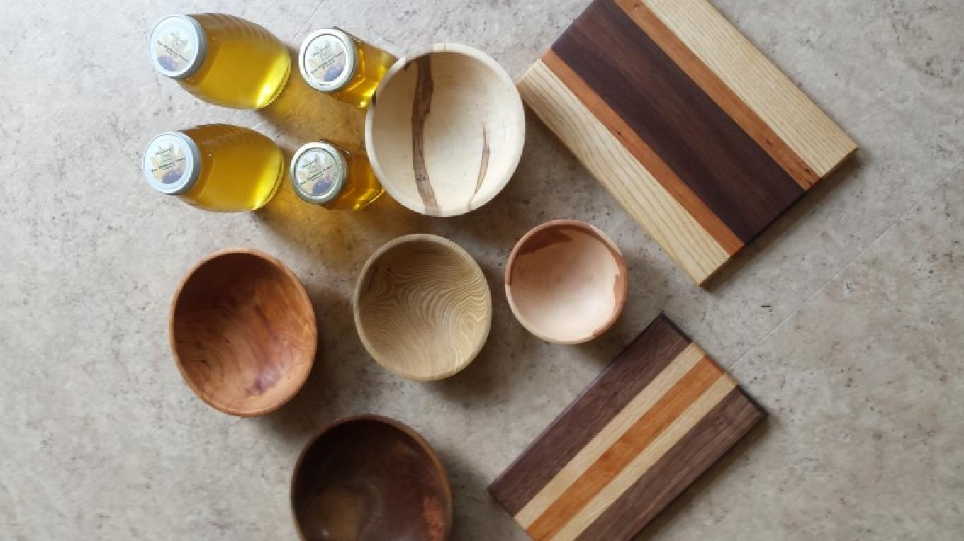Bowls, cutting boards and honey all for sale at Christmas time – Tim Dunne