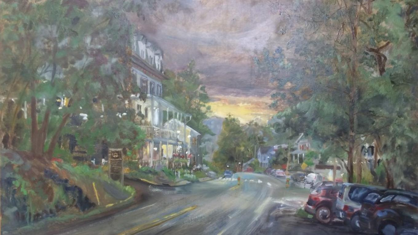 """Deerhead Inn at Twilight Oil on linen – James Gloria"