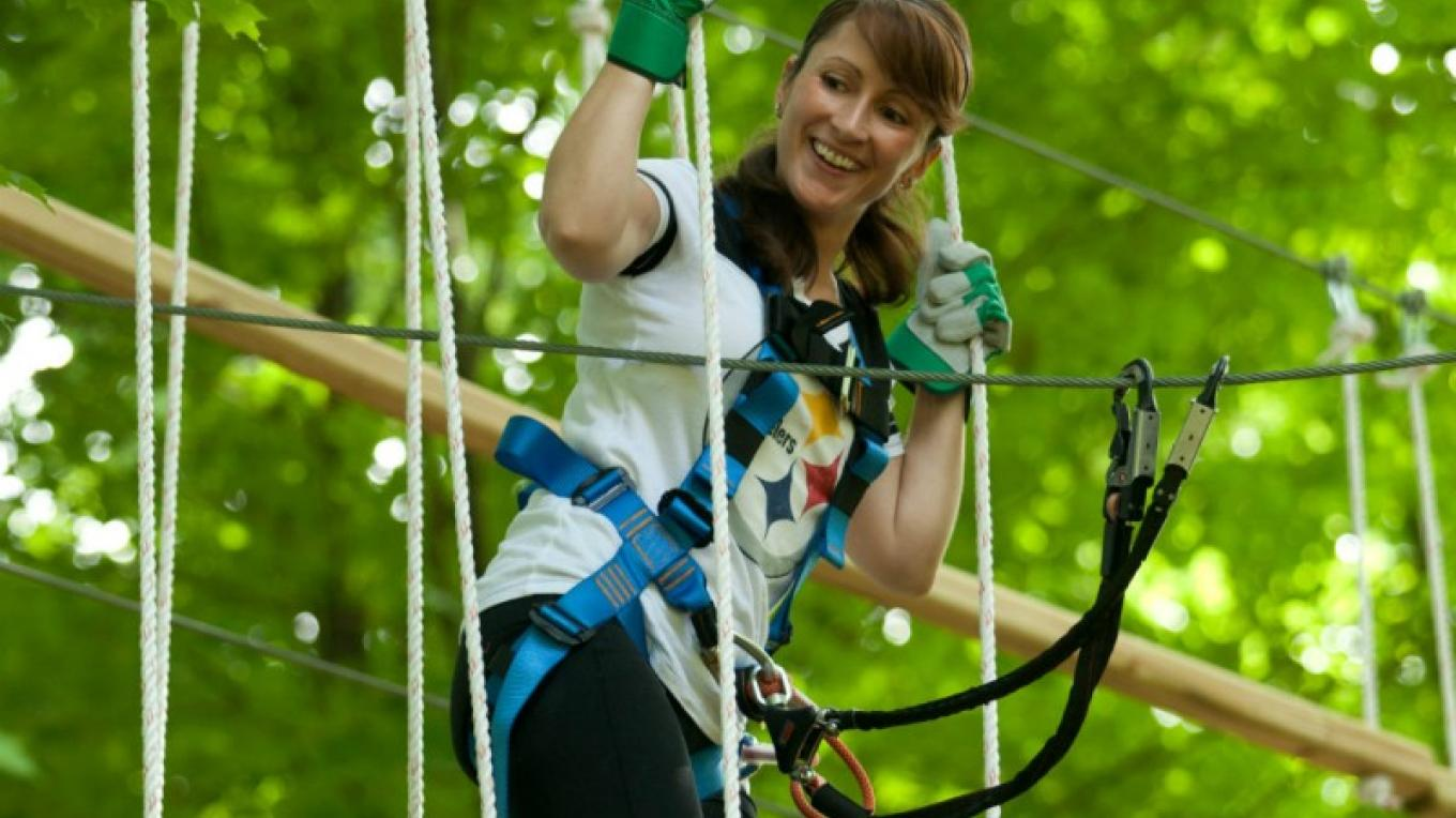 Pocono TreeVentures offers year-round aerial ropes adventures with 5 courses and beginner to expert courses. Located on Route 209 next to the Delaware Water Gap National Recreation Area, experience nature from the trees. – Dav id Coulter